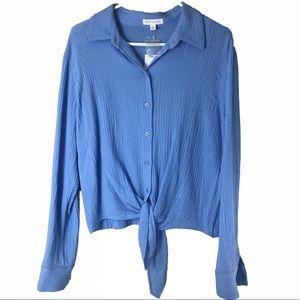 Socialite Blue Front Tie Button Down Long Sleeve L